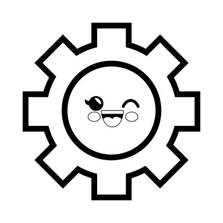 gear cartoon smiley vector icon illustration graphic design