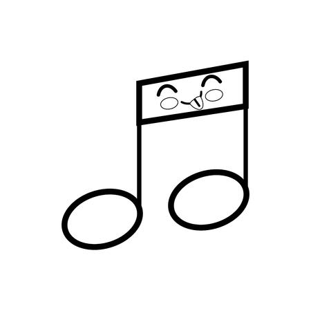 musical note cartoon smiley vector icon illustration graphic design
