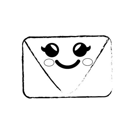 envelope cartoon smiley vector icon illustration graphic design Ilustrace