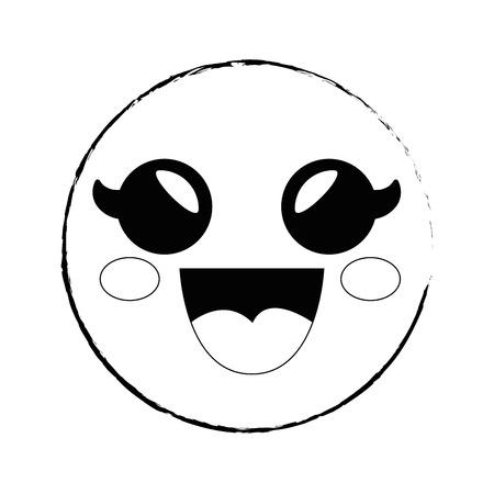 スマイリー漫画幼稚なベクター アイコン イラスト グラフィック デザイン