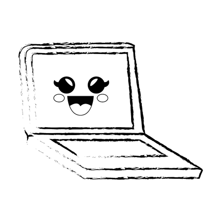pc laptop cartoon smiley vector icon illustration graphic illustration Banco de Imagens - 79175883