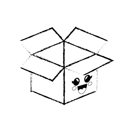 box cartoon smiley vector icon illustration graphic design Ilustrace