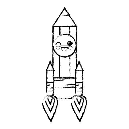 pencil rocket cartoon smiley vector icon illustration graphic design