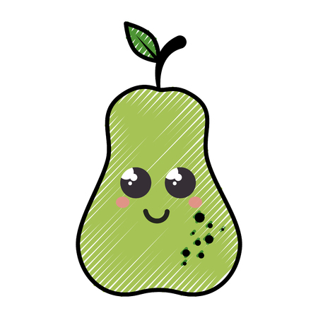 pear cartoon smiley fruit vector icon illustration graphic design Çizim