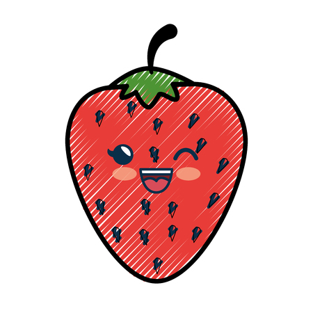 strawberry cartoon smiley fruit vector icon illustration graphic design