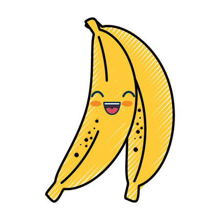 banana cartoon smiley vector icon illustration graphic design Illustration