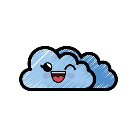 cloud cartoon smiley vector icon illustration graphic design
