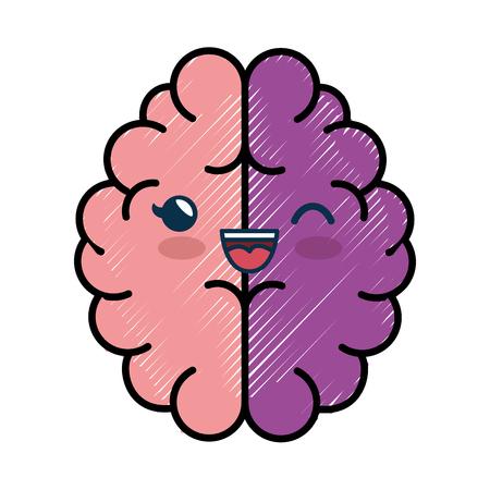 brain cartoon smiley vector icon illustration graphic design