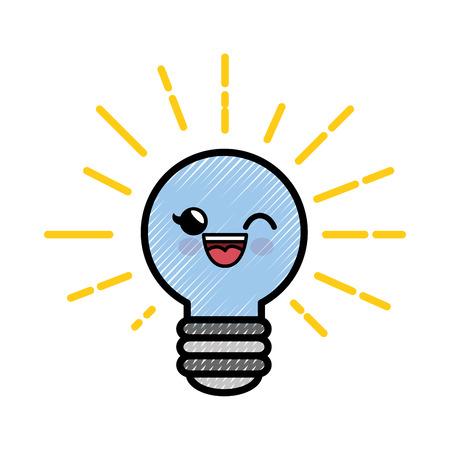 light bulb cartoon smiley vector icon illustration graphic design Banco de Imagens - 79178122