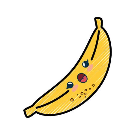 banana cartoon smiley vector icon illustration graphic design Ilustração