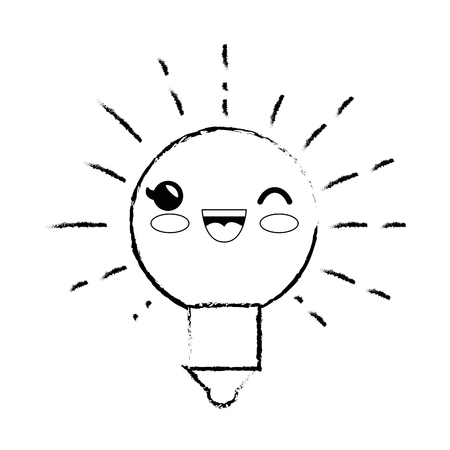 light bulb cartoon smiley vector icon illustration graphic design
