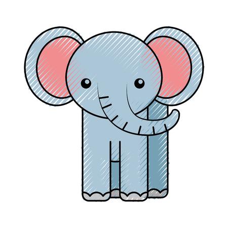 cute color scribble elephant cartoon graphic design