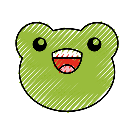 cute scribble toad face cartoon graphic design