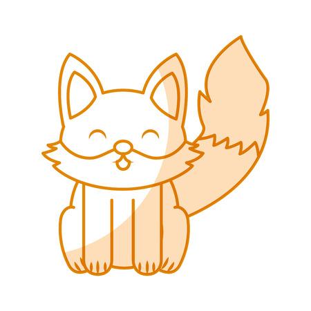 cute yellow shadow fox cartoon graphic design