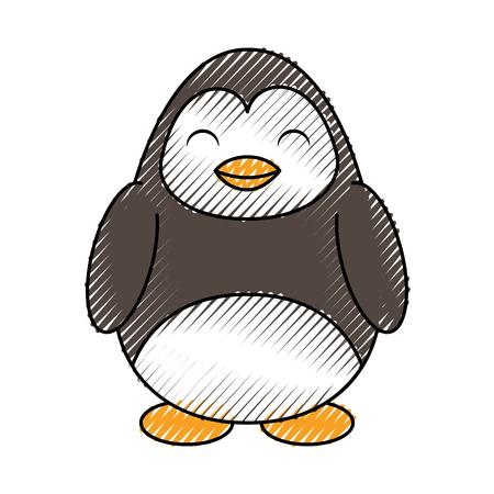 simple life: cute color scribble penguin cartoon graphic design Illustration
