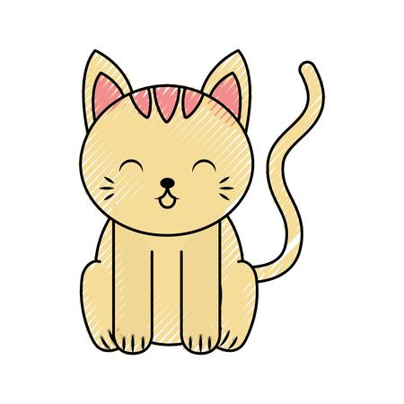 cute color scribble cat cartoon graphic design