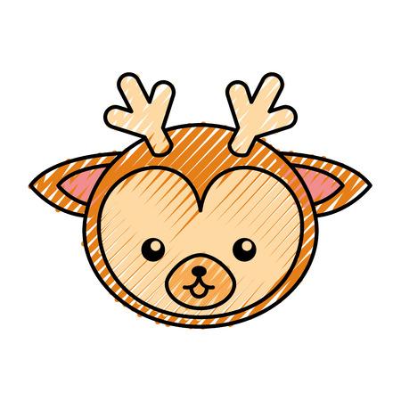 simple life: cute scribble deer face cartoon graphic design