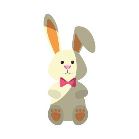 bunny ribbon animal vector icon illustration graphic design