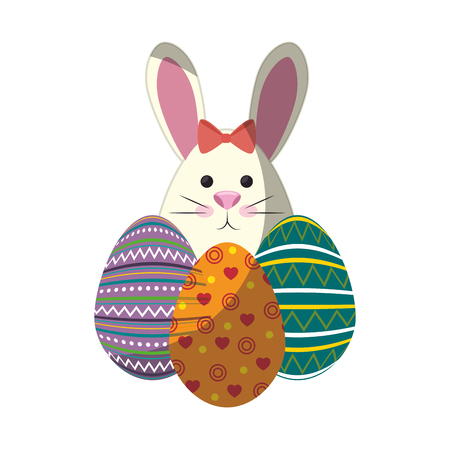 bunny animal egg easter vector icon illustration graphic design