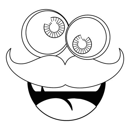 funny face mustache vector icon illustration graphic design