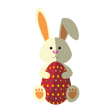 bunny animal egg easter vector icon illustration graphic design
