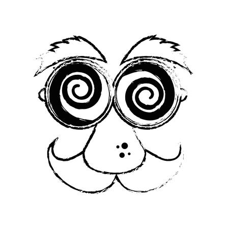 joke glasses: funny face glasses mustache vector icon illustration graphic design Illustration