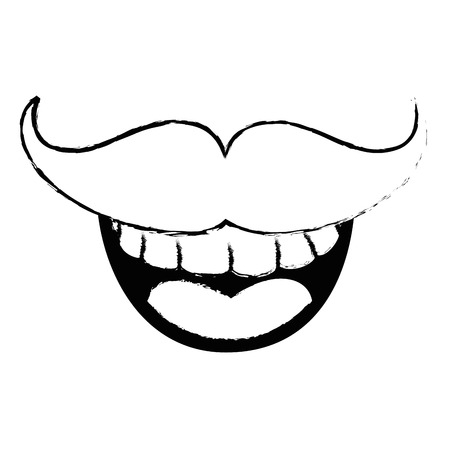 smile mustache cartoon vector icon illustration graphic design Illustration