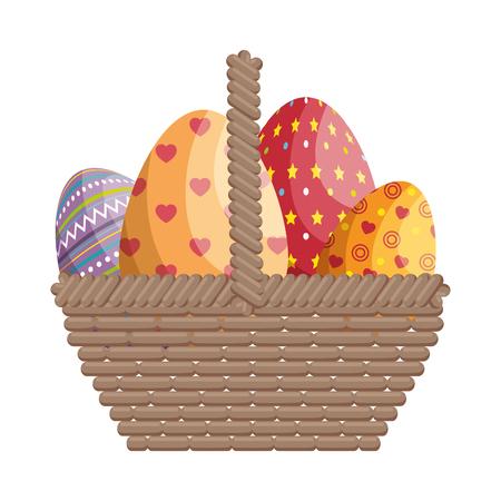 basket eggs easter vector icon illustration graphic design
