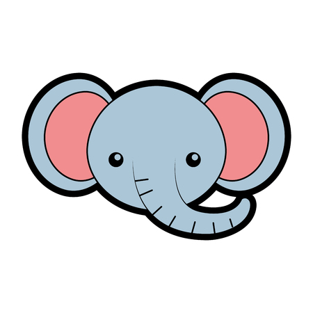 cute elephant face cartoon vector graphic design