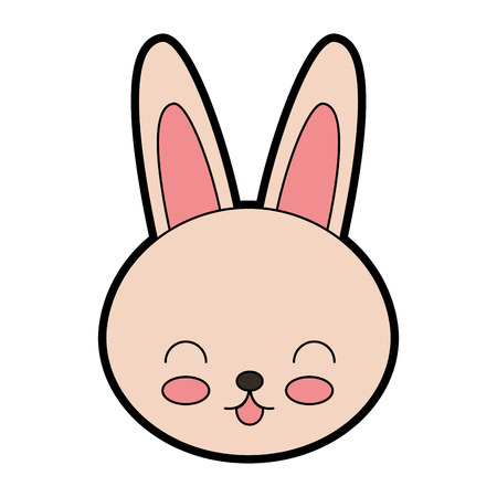 cute color rabbit face cartoon graphic design
