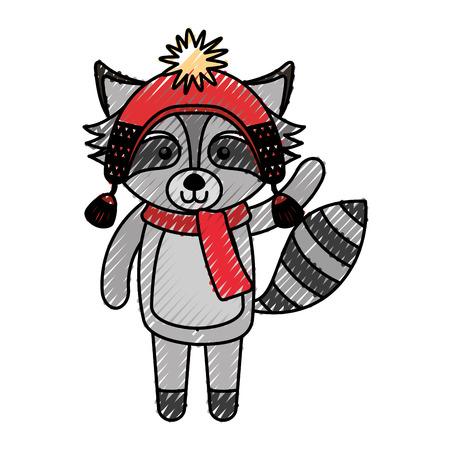 cute scribble christmas raccoon cartoon vector graphic design
