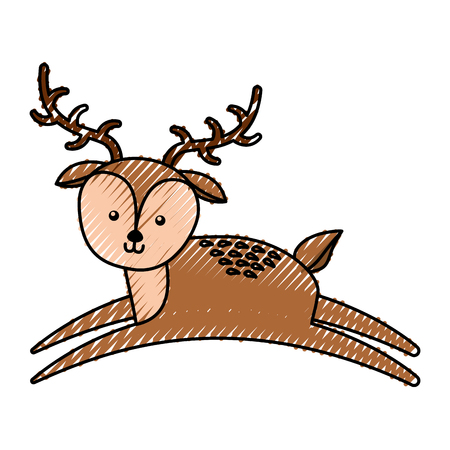 simple life: cute scribble deer cartoon vector graphic design Stock Photo