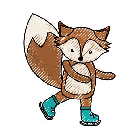 simple life: cute color scribble fox cartoon graphic design