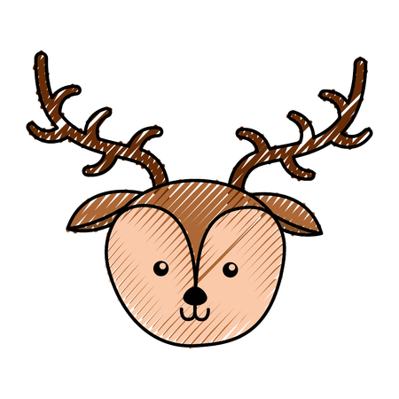 simple life: cute scribble deer face cartoon vector graphic design Illustration