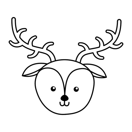 simple life: cute line icon deer face cartoon graphic design