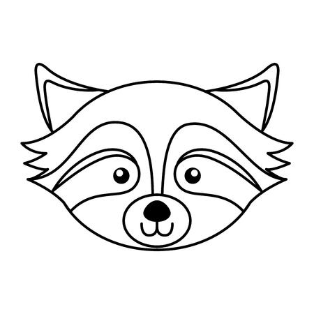 귀여운 라인 아이콘 너구리 얼굴 만화 그래픽 디자인