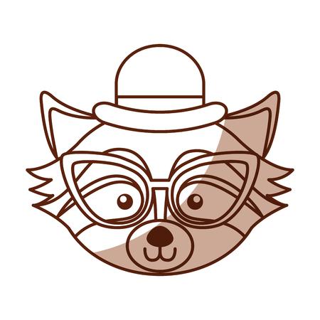 cute shadow raccoon face cartoon vector graphic design Illustration
