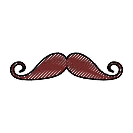 cute scribble vintage moustache cartoon icon vector