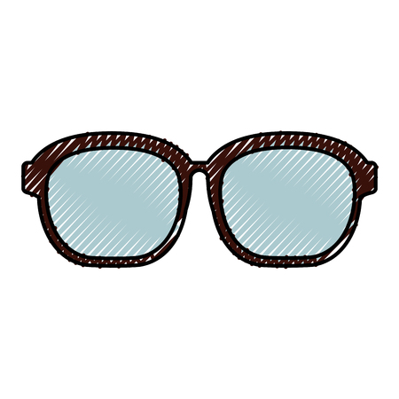 sight: cute scribble glasses cartoon vector graphic design