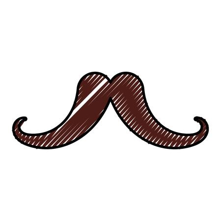 hair mask: cute scribble vintage moustache cartoon icon vector