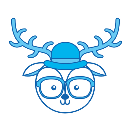 blue icon vintage deer face cartoon graphic design