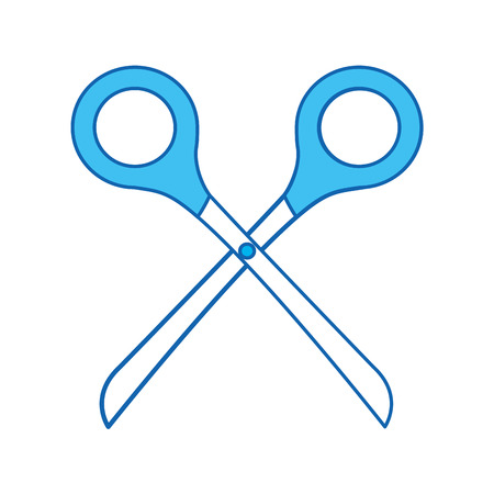 blauw pictogram Schaar cartoon vector grafische vormgeving Stock Illustratie