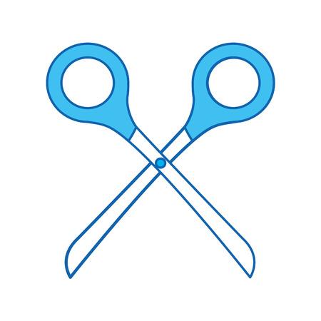 blue icon Scissors cartoon vector graphic design