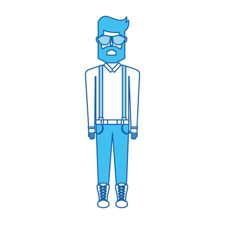 vintage blauw pictogram body man cartoon grafisch ontwerp