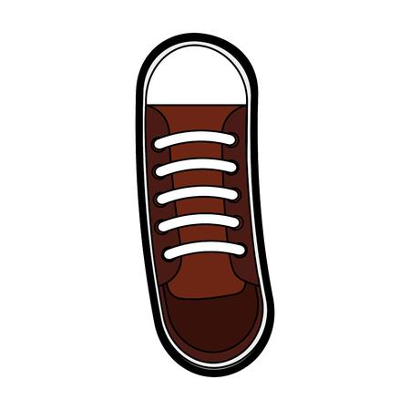 Progettazione grafica di vettore del fumetto sveglio della scarpa marrone Archivio Fotografico - 79195620