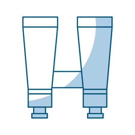 shadow blue binoculars cartoon vector graphic design
