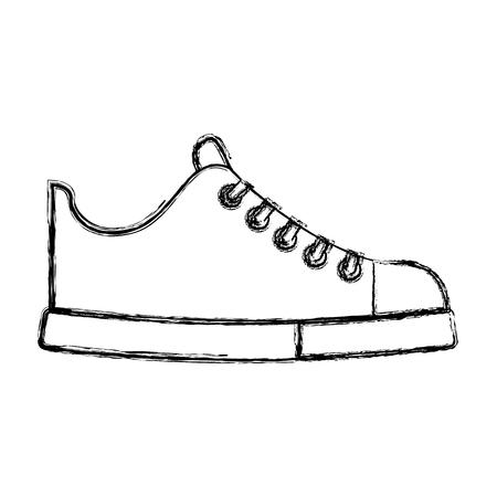 Schizzo carino disegnare scarpa disegno grafico vettoriale di cartone animato Archivio Fotografico - 79196520