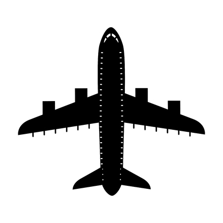 jetliner: black icon airplane cartoon vector graphic design