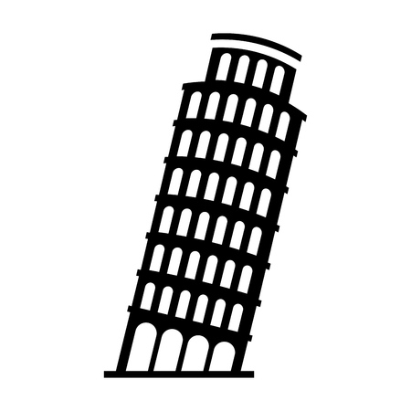 black icon Leaning Tower of Pisa cartoon vector graphic design