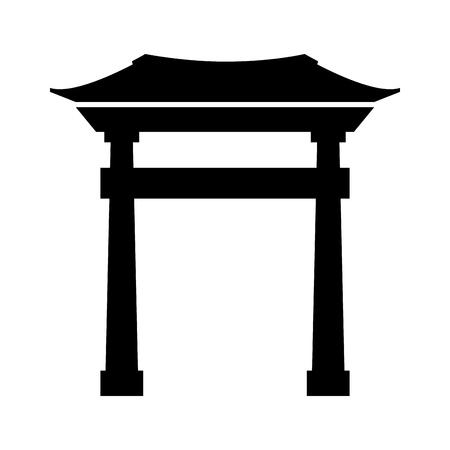 black icon chinese gate cartoon vector graphic design Ilustração